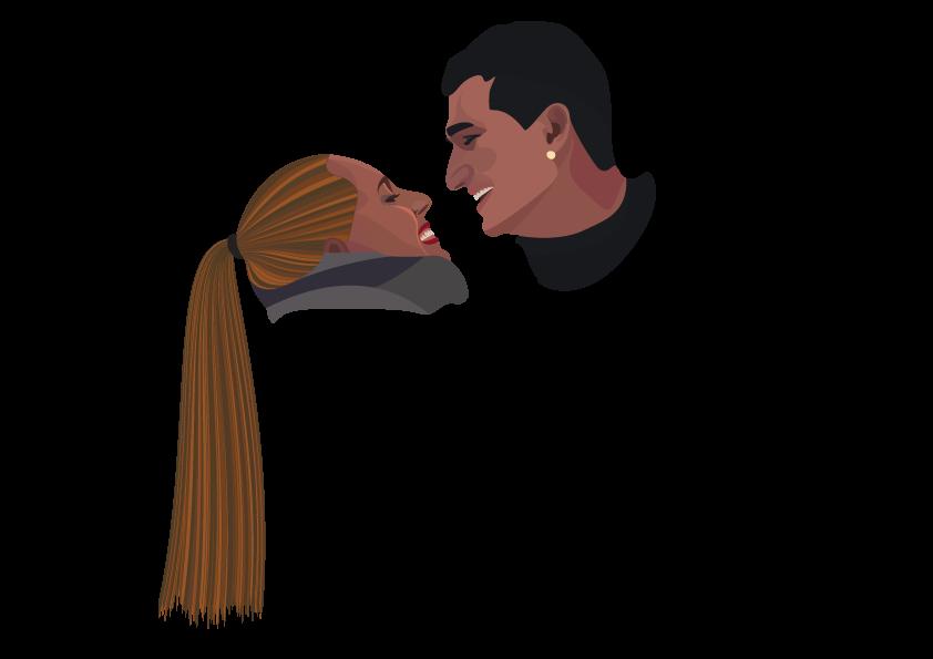 Jeune couple aux regards amoureux