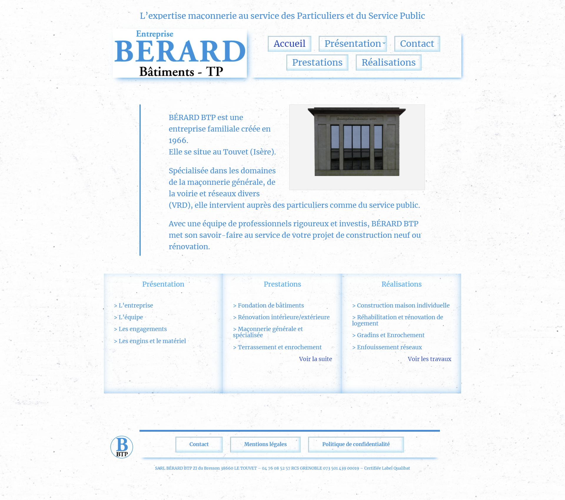 Capture d'écran SIte Internet entreprise de maçonnerie